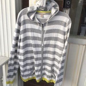 2for$20 Banana Republic Gray Striped Zip Cardigan